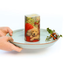 Load image into Gallery viewer, hands holding LED Christmas Candles - Santa & Puppy Decorative Candle- the sage haven, ireland