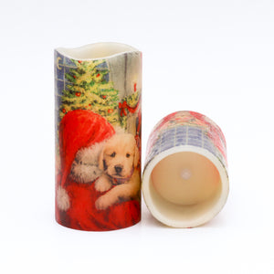 set of LED Christmas Candles - Santa & Puppy Decorative Candle - the sage haven, ireland