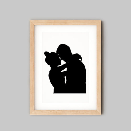 Custom Wall Art - Silhouette Portrait Art of couple embracing - the sage haven, ireland
