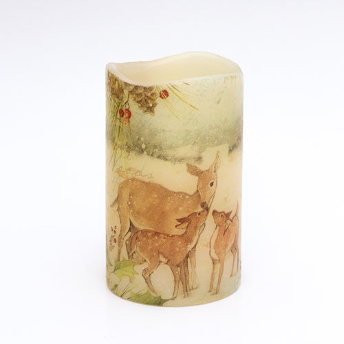 Flameless Candle With Deer Print