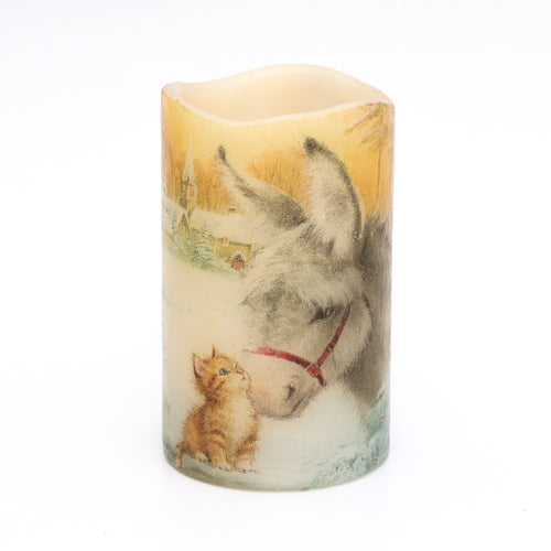 decorative christmas candle - donkey and kitten - the sage haven, ireland