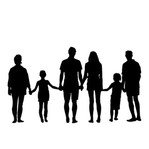 silhouette of 6 people family