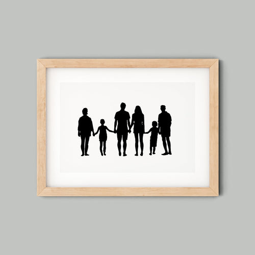 family silhouette in wooden frame