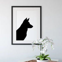 Load image into Gallery viewer, framed silhouette of german shepherd dog