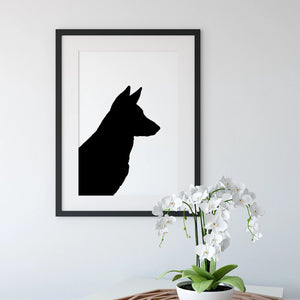 framed silhouette of german shepherd dog