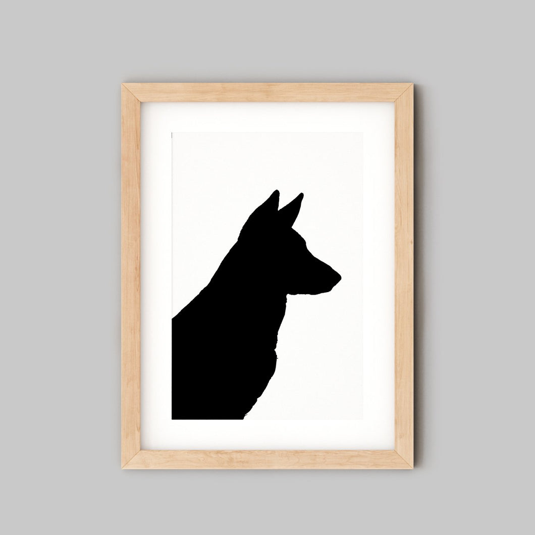 silhouette of german shepherd dog in wooden frame