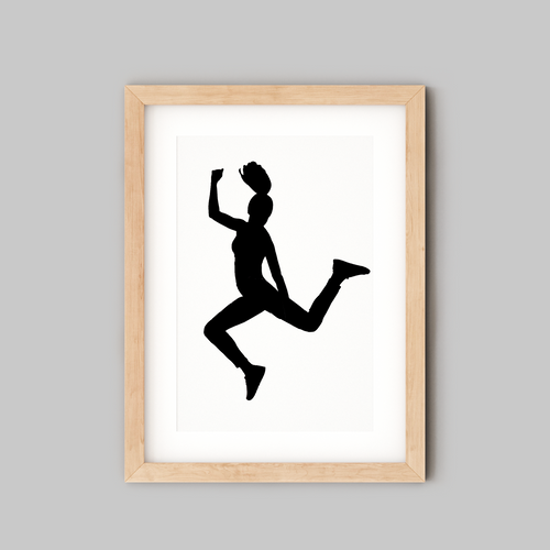 silhouette of teenage girl jumping in wooden frame