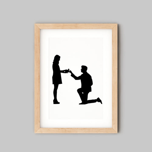 framed silhoutte of wedding proposal