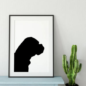 framed silhouette of bullmastiff dog