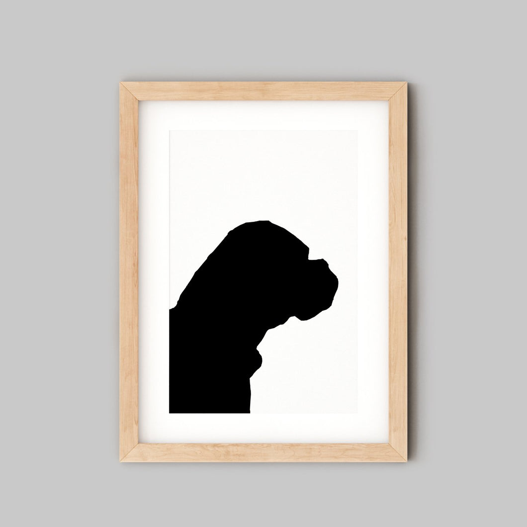 side profile silhouette of bullmastiff dog