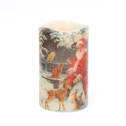 Woodland Christmas Decor - Santa & Woodland Animals Candle - the sage haven, ireland