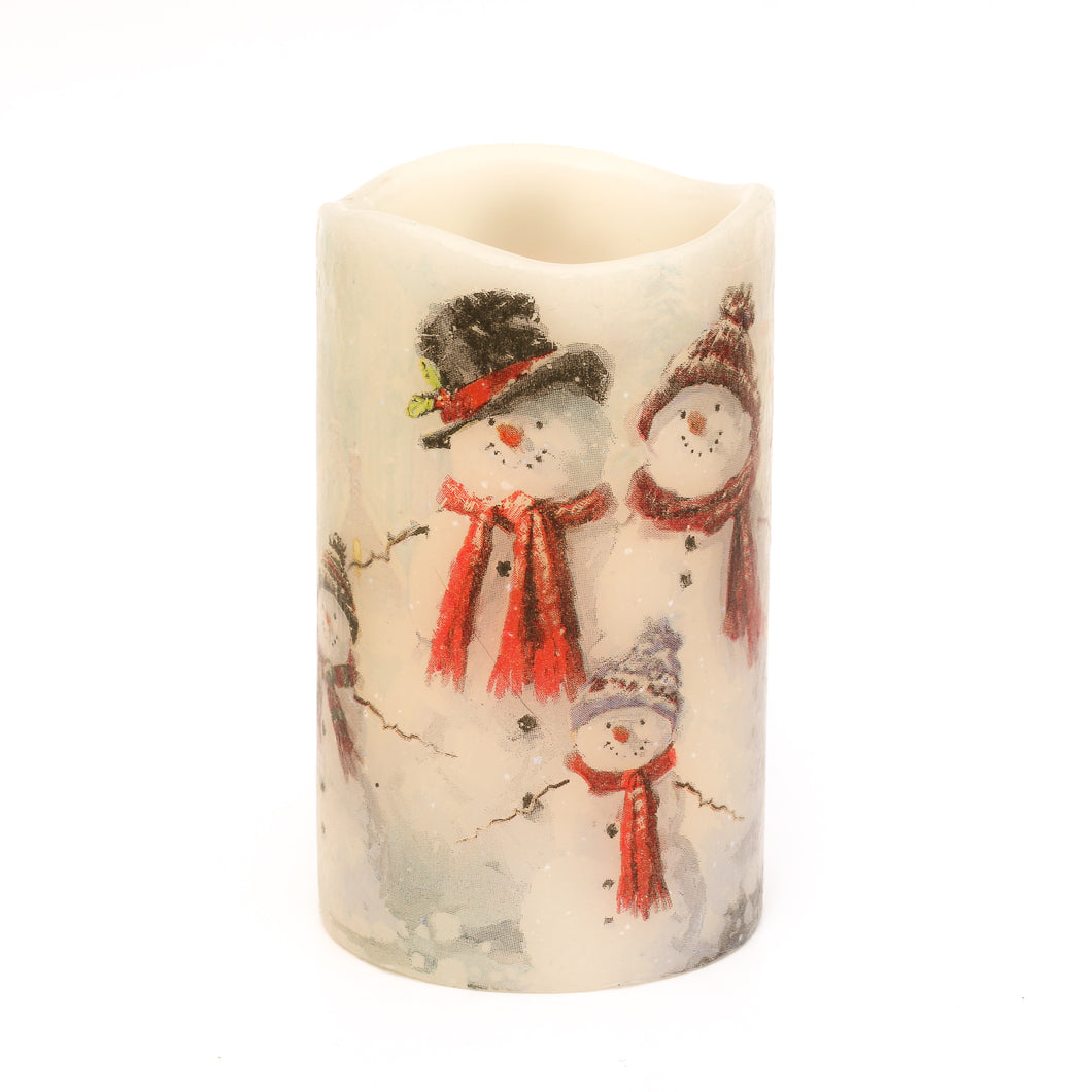 white led candle with snowman family image