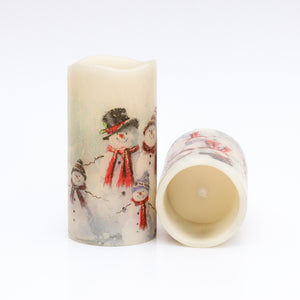 Flameless Snowman Candles set - Winter Decorations - the sage haven, ireland