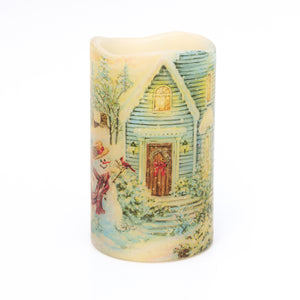 Christmas Window Decor - Christmas Snowman Scene LED Candle  - the sage haven, ireland