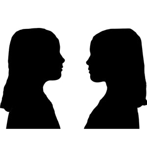 side profile silhouette of twin girls