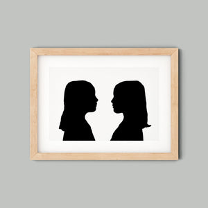 Child Silhouette Art - Custom Twins Gift - twins silhouette