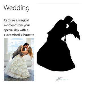 details of wedding silhouette art
