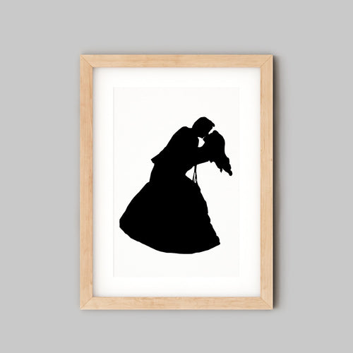 Custom Wedding Art - Personalised Wedding Gift - wedding couple silhouette