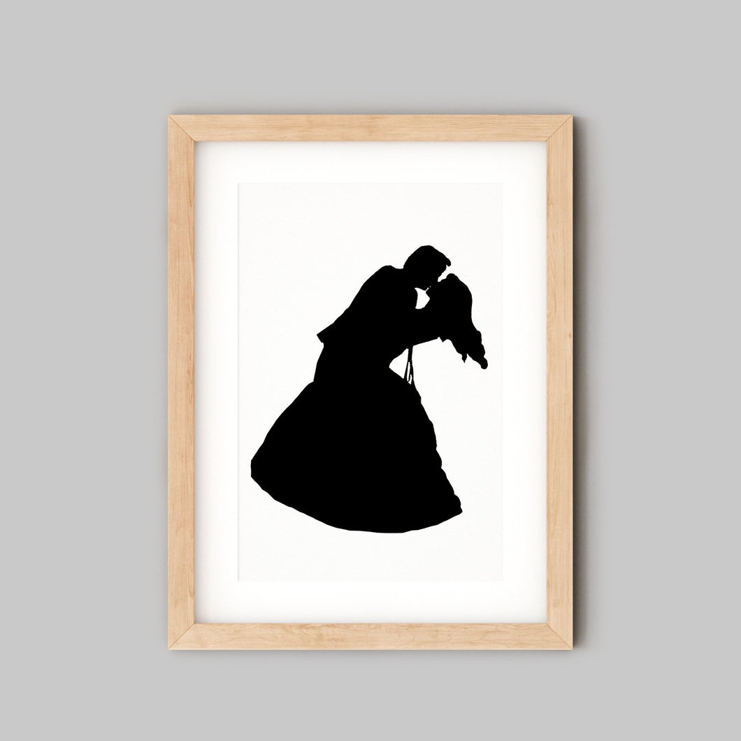 silhouette of couple embracing