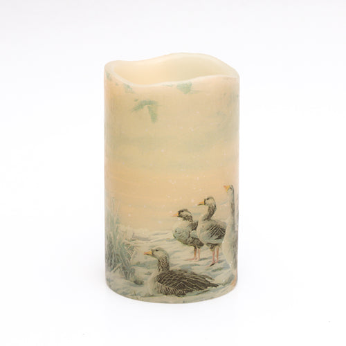 flameless candle with canadian geese print