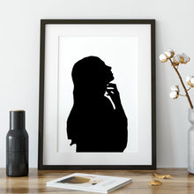 Load image into Gallery viewer, framed silhouette of woman on desk