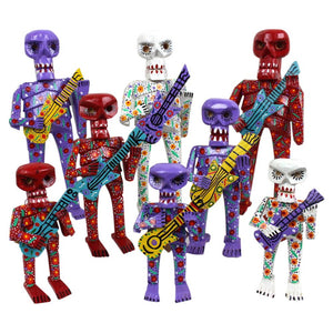 (1) Musical Mariachi Skeleton: Day of the Dead made of wood Handpainted - Colours of Mexico