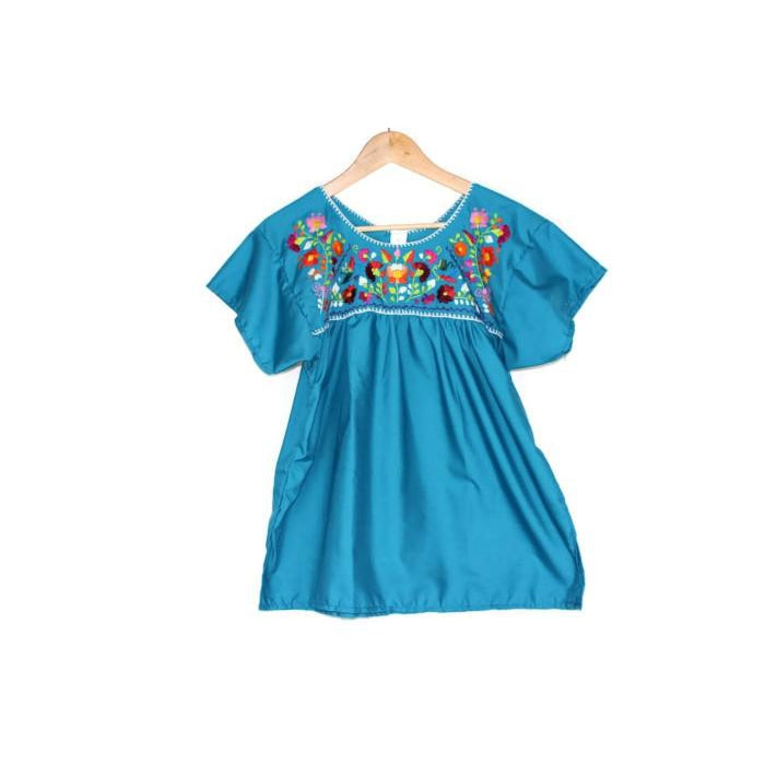 Mexican Embroidered Peasant Top Light Blue - Colours of Mexico