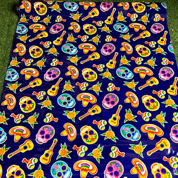Mexican Oilcloth Fabric Day of the Dead Purple Party - Colours of Mexico