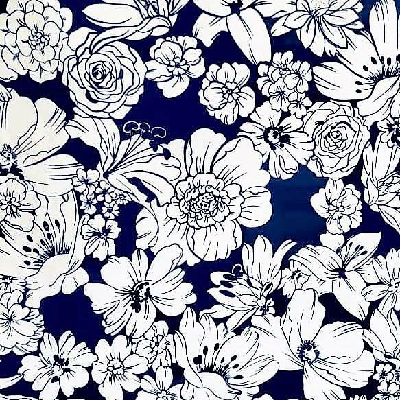 Mexican Oilcloth Fabric Blue & White Floral - Colours of Mexico