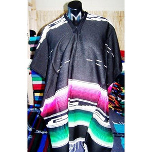 Mexican Poncho Aztec Black - Colours of Mexico