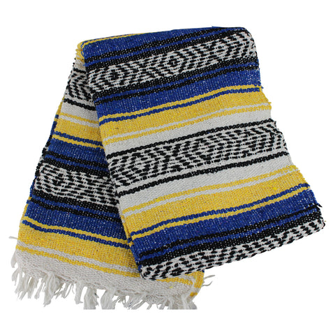 Mexican Western Yoga Falsa Blanket Blue and Yellow - Colours of Mexico