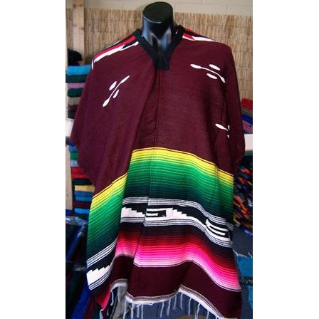 Mexican Poncho Aztec Burgundy - Colours of Mexico