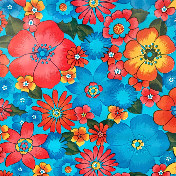 Mexican Oilcloth Fabric Big Blue Flowers - Colours of Mexico