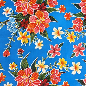 Mexican Oilcloth Fabric Blue Hibiscus Flowers - Colours of Mexico
