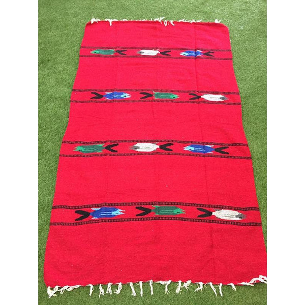 Mexican Floor Rug Fish - Red - Colours of Mexico