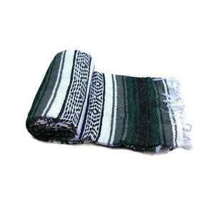 Mexican Western Yoga Falsa Blanket Green and Grey - Colours of Mexico