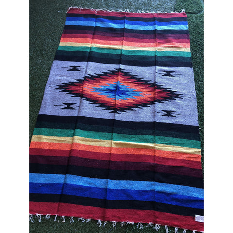 Mexican Floor Rug Aztec design Multicoloured: Grey - Colours of Mexico