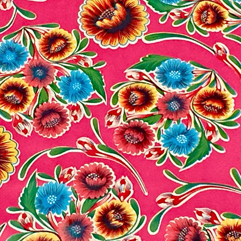 Mexican Oilcloth Fabric Pink Mum Flowers - Colours of Mexico