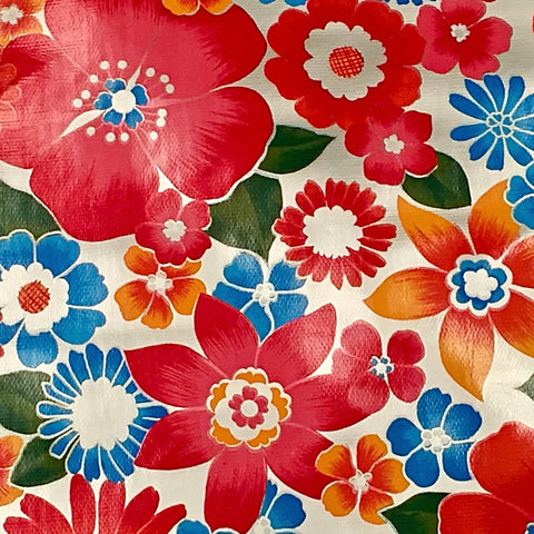 Mexican Oilcloth Fabric Big Silver Flowers - Colours of Mexico