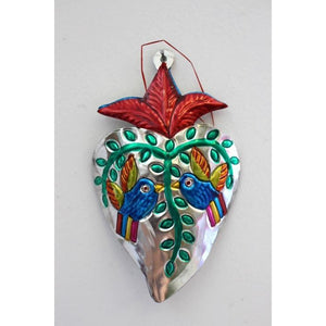 Mexican Tin Hearts - with 2 birds - Colours of Mexico