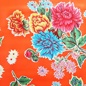 Mexican Oilcloth Fabric Orange Mum Flowers