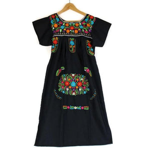 Adult Dress: Black Mexican Embroided Boho - Colours of Mexico