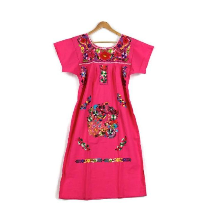 Adult Dress: Pink Mexican Embroided Boho - Colours of Mexico