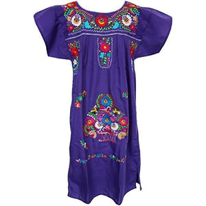 Adult Dress: Purple Mexican Embroided Boho