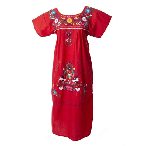 Adult Dress: Red Mexican Embroided Boho - Colours of Mexico