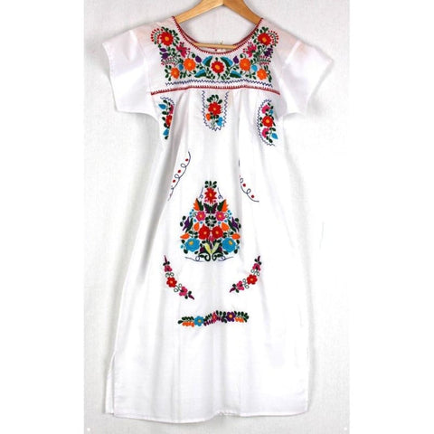 Adult Dress: White Mexican Embroided Boho - Colours of Mexico