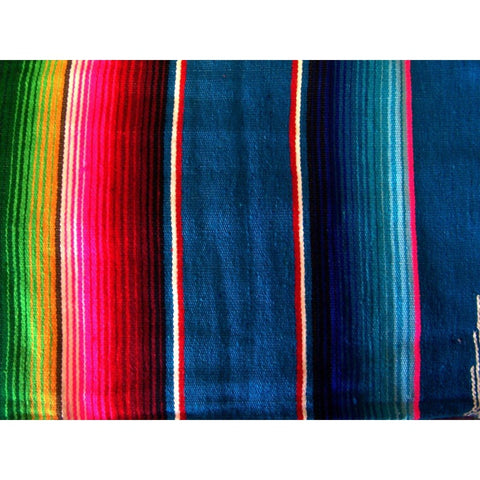 Dark Blue Mexican Sarape Blanket - Colours of Mexico