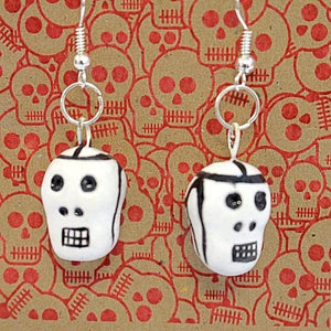 Day of the Dead Ceramic Skull Earrings - Colours of Mexico
