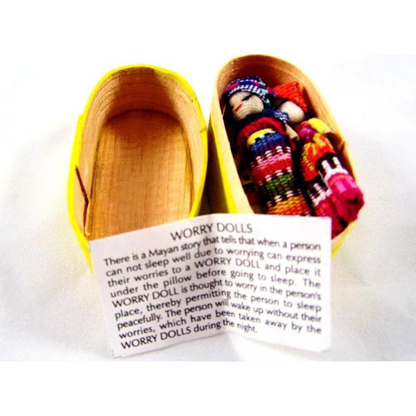 Four Large Worry Dolls In A Traditional Wooden Box - Colours of Mexico