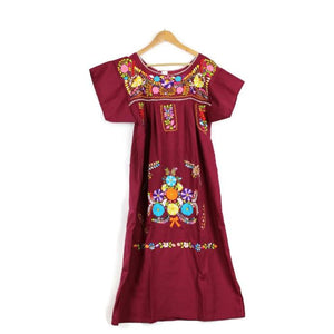 Adult Dress: Burgundy Mexican Embroided Boho - Colours of Mexico